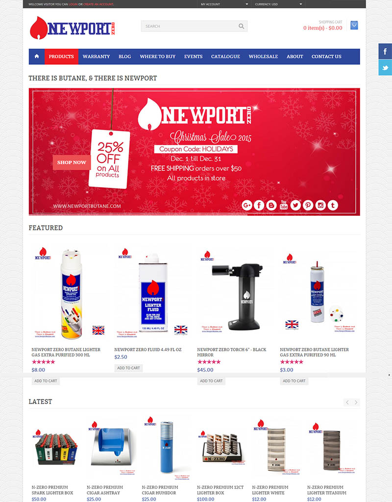 Newport Butane e-commerce website digital marketing seo